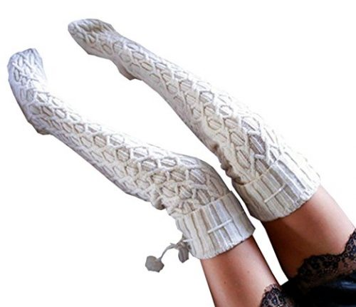 Women Cable Knit Over Knee Thigh Stocking Extra Long Boot Socks.
