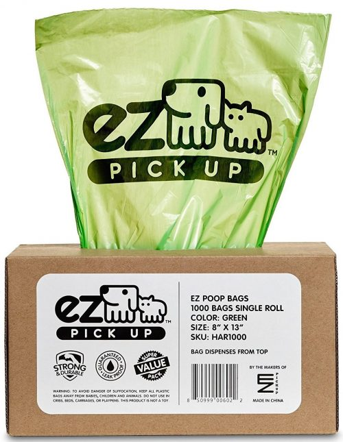 1000 Pet Waste Disposal Dog Poop Bags, EZ Bags Green