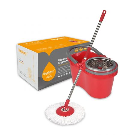Hapinnex Spinning Mop Bucket Set-Upgraded Self-Balanced System With 2 Mop Head Replacements