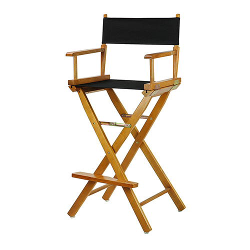 """Casual Home 30"""" Director's Chair Honey Oak Frame-with Black Canvas, Bar Height"""
