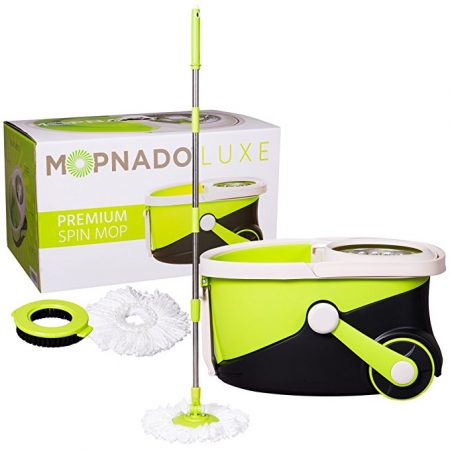 Mopnado Stainless Steel Deluxe Rolling Spin Mop with 2 Heads