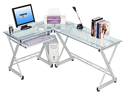 Techni Mobili - L Shape Tempered Glass Corner Desk