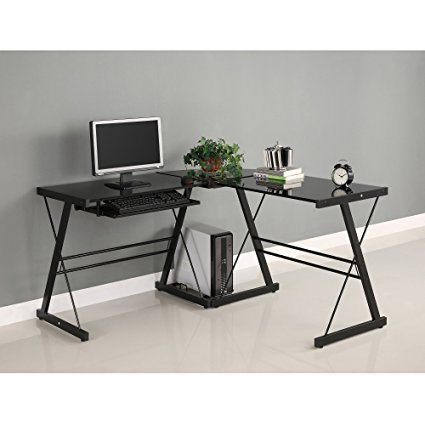 Walker Edison Soreno Corner Desk with Black Glass