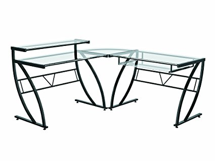 Z-Line Belaire L-Shaped Glass Desk