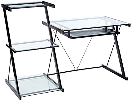 Z-Line Nero Glass Desk and Bookcase