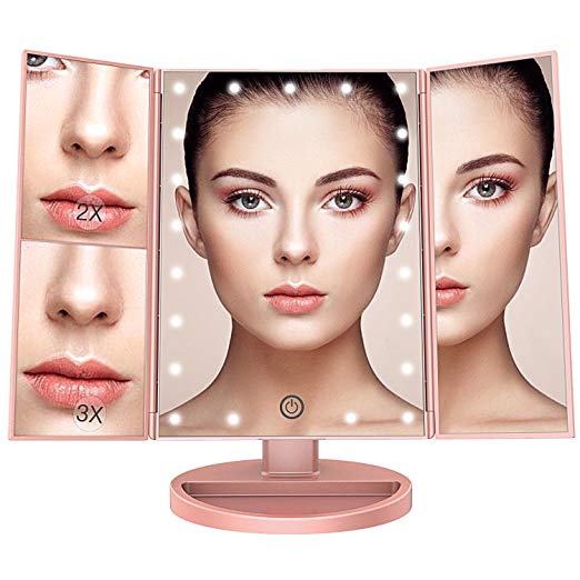 BESTOPE Makeup Vanity Mirror with 21 Led Lights,3x/2x Magnification Led Makeup Mirror