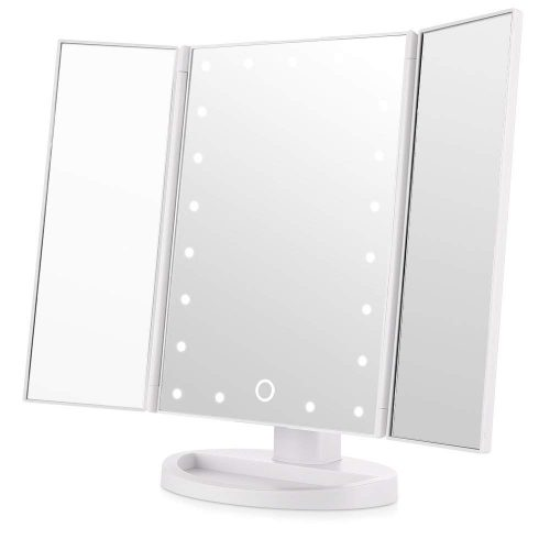 Easehold LED Vanity Mirror Make up Tri-Fold with 21Pcs Lights 180 Degree Free