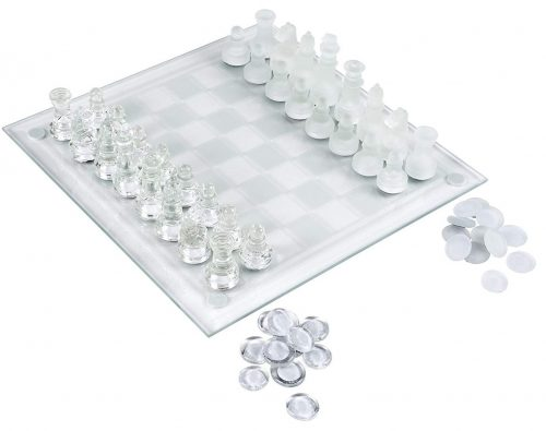 Elegant Glass Chess & Checker Board Set Clear & Frosted