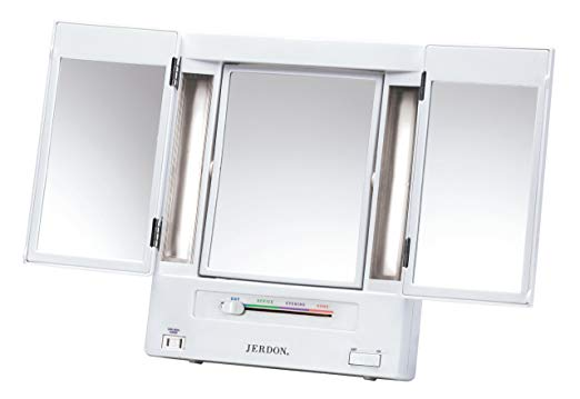 Jerdon Tri-Fold Two-Sided Lighted Makeup Mirror with 5x Magnification