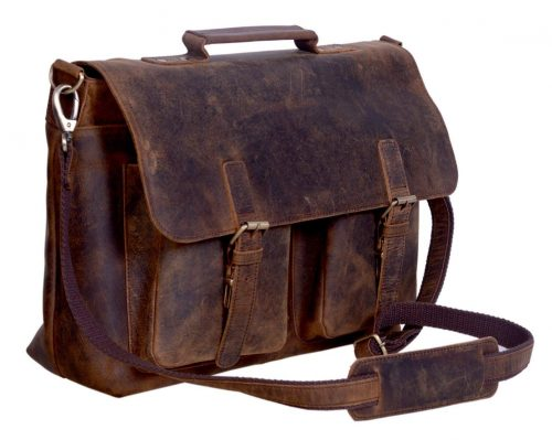 KomalC 18 Inch Retro Buffalo Hunter Leather Laptop Messenger Bag daac1b4d76d70