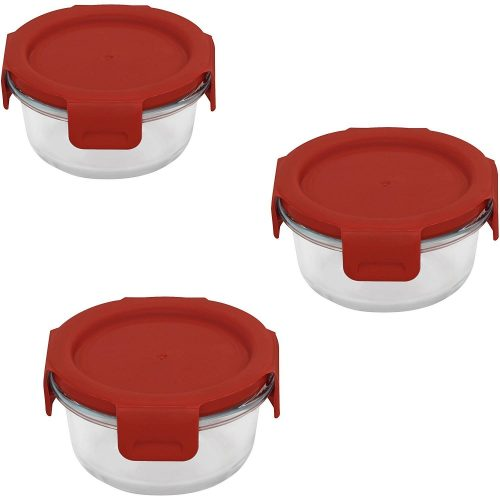 Pyrex Round Storage 3-Piece Value Pack with Red 4-Lock Poppy Plastic Covers