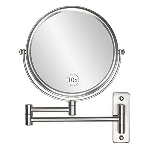 Wall Mounted Makeup Mirror - 10x Magnification 8'' Two-Sided Swivel Extendable