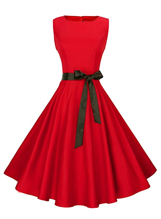 Anni Coco Women's Classy Audrey Hepburn 1950s Vintage Rockabilly Swing Dress-Red Dresses