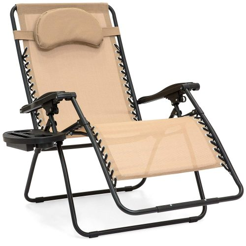 Best Choice Products Oversized Zero Gravity Outdoor Reclining Lounge Patio Chair w/Cup Holder