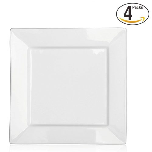 DOWAN 10 Inch Porcelain Square Dinner Plates - 4 Packs