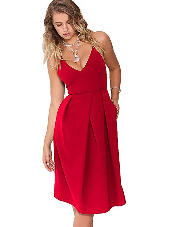 Eliacher Women's Deep V Neck Adjustable Spaghetti Straps Summer Dress