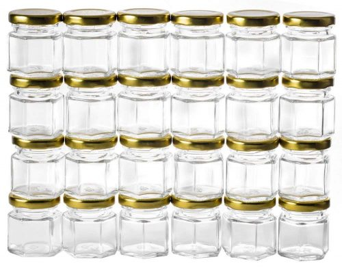 GoJars 1.5oz Hexagon Glass Jars 24 pack