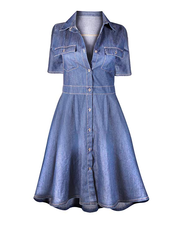HOT FROM HOLLYWOOD Women's Casual Button Down Cotton Denim Pocket Fitted Tunic Shirt Dress