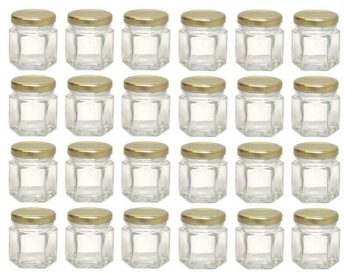 Hexagon Glass Jars, Mini Hex Jars 1.5 Oz