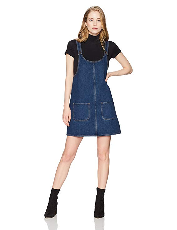 Lily Parker Women's Junior Classic Denim Bib Overall Dress with Pocket
