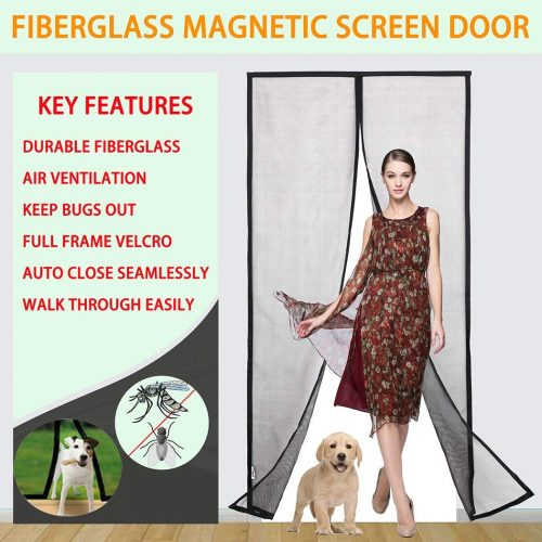 "Magnetic Screen Door with Super Durable Fiberglass Mesh Curtain and Full Frame Velcro Fits Door Size up to 36"" X 82''Max"