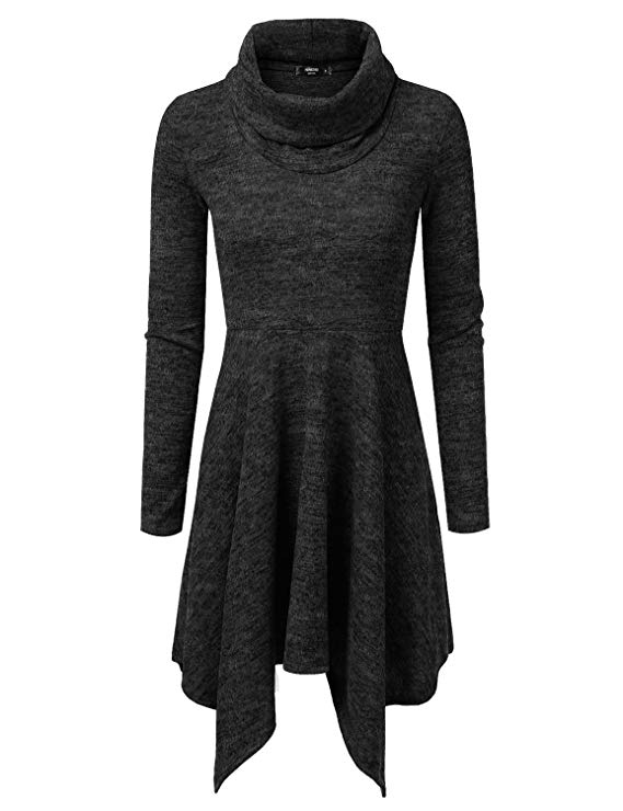 NINEXIS Womens Cowl Neck Long Sleeve Flowy Sweater Dress
