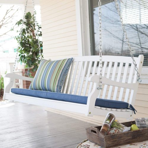 Patio Swing for Two Persons Wood Durable White Finish Coral Coast Pleasant Bay All Weather