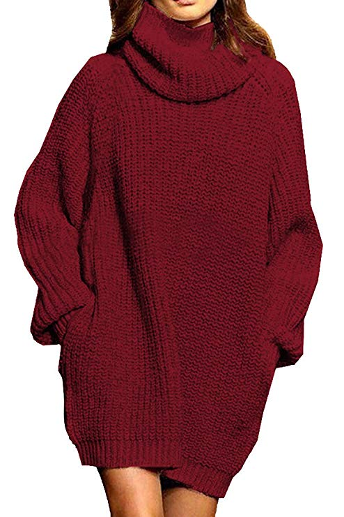 Pink Queen Women's Loose Oversize Turtleneck Wool Long Pullover Sweater Dress