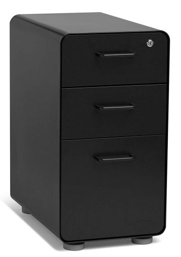 Poppin Black Slim Stow 3-Drawer File Cabinet