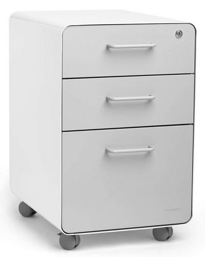 Poppin White + Light Gray Stow Rolling 3-Drawer File Cabinet, Available in 10 Colors