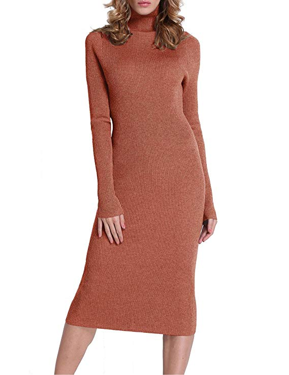 Rocorose Women's Turtleneck Ribbed Elbow Long Sleeve Knit Sweater Dress