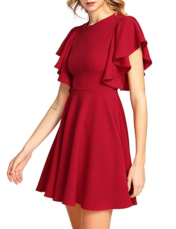 Romwe Women's Stretchy A Line Swing Flared Skater Cocktail Party Dress