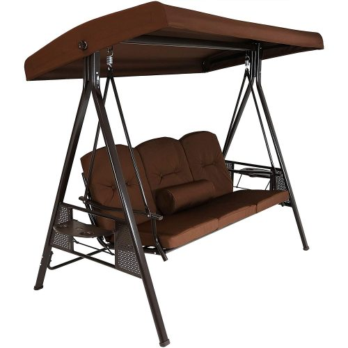 Sunnydaze 3-Person Steel Frame Outdoor Adjustable Tilt Canopy Patio Swing with Side Tables
