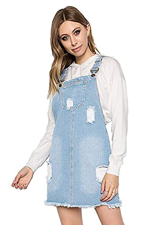 TwiinSisters Women's Casual Denim Destroyed Overall Dress for Women Plus Size Available