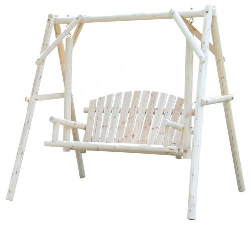 VH FURNITURE Wooden Patio Swing Rustic Outdoor Furniture