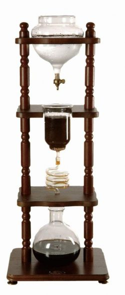 Yama Glass 6-8 Cup Cold Drip Maker Curved Brown Wood Frame