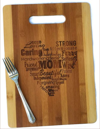 1.  Mothers Gift Heart Mom Serving Cutting Board:
