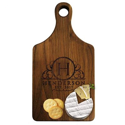 2. Personalized Cheese Maple Walnut Cutting Board: