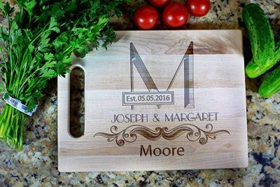 4.  OleksynPrannyk Personalized Gift Cutting Board: