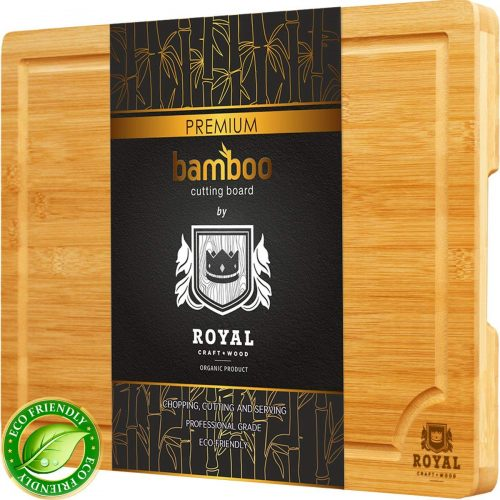 Bamboo Cutting Board w/Juice Groove & Handles - Butcher Block for Chopping Meat