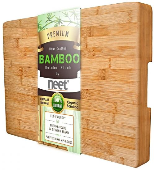 LARGE Bamboo Butcher Chopping Block By Neet - Ultra Thick Heavy & Solid Cutting Board