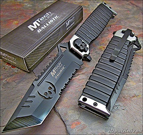 MTECH Ballistic SILVER SAWBACK Tanto Skull Spring Assisted Opening Knife NEW