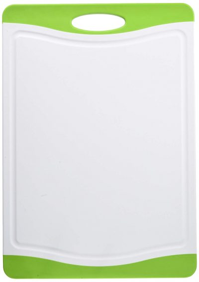 "Neoflam 17"" Plastic Cutting Board in White and Green - BPA Free, Non Slip"