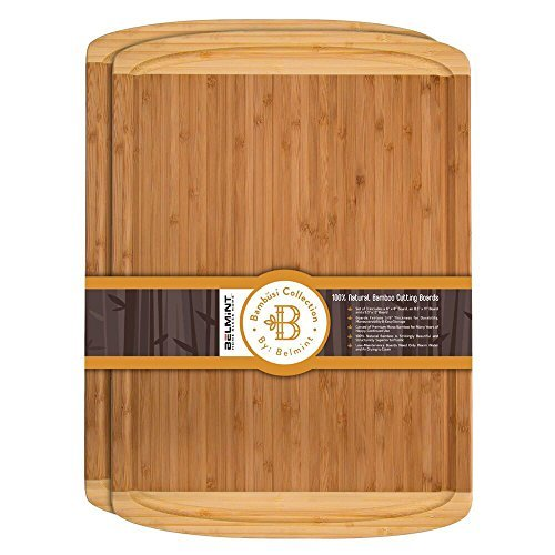 Premium Bamboo Cutting Board Set of 2 Large Chopping Board with Deep juice Groove-bamboo cutting boards