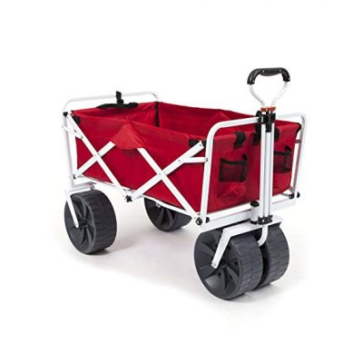 Mac Sports Heavy Duty Collapsible Folding Beach Cart(Red/White):