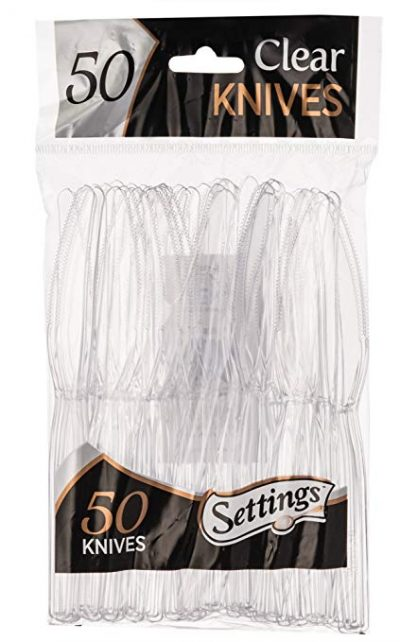 Settings Clear Plastic Cutlery Disposable 50 Knives Per Package: