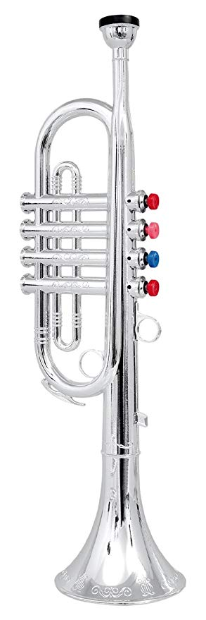Click N' Play Metallic Silver Trumpet for Kids:
