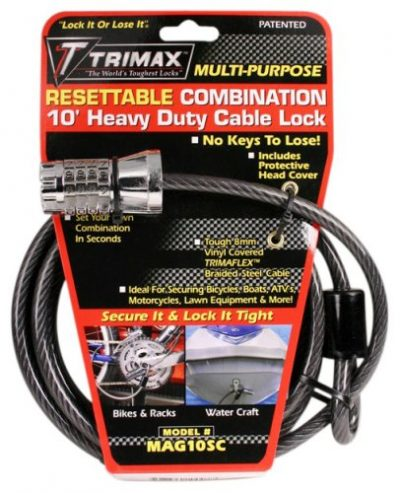 Trimax MAG10SC 10ft Combination Cable Lock:
