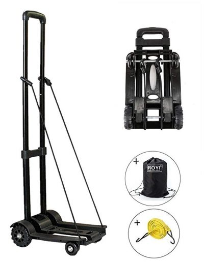 Folding Hand Truck, 70 Kg/155 lbs Heavy Duty 4-Wheel Solid Construction Utility Cart by ROYI: