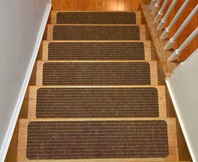 3. Stair Treads Collection Set of 13 Indoor Skid Slip Resistant Brown Carpet Stair Tread: